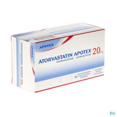 Atorvastatin Apotex 20mg Filmomh Tabl 98 X 20mg