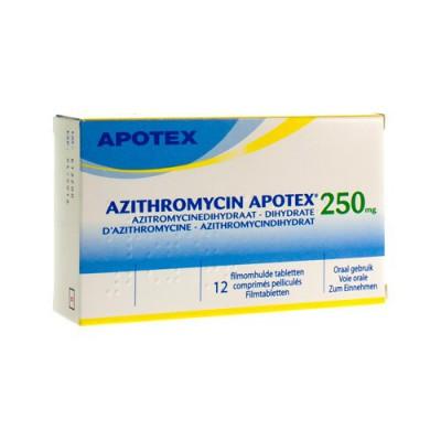 AZITHROMYCIN 250 MG APOTEX TABL OMHULDE 12X250 MG