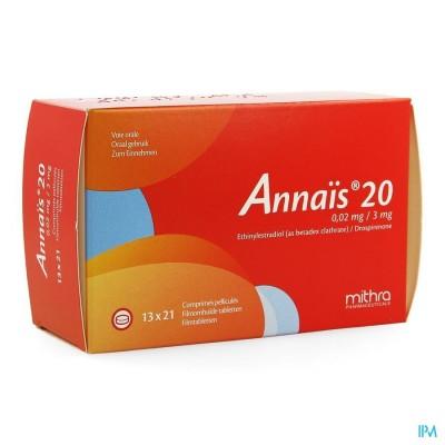 Annais 20 0,02mg/3mg Filmomh Tabl 13 X 21
