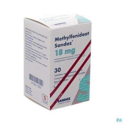 METHYLFENIDAAT 18MG SANDOZ COMP VERL AFGIFTE 30